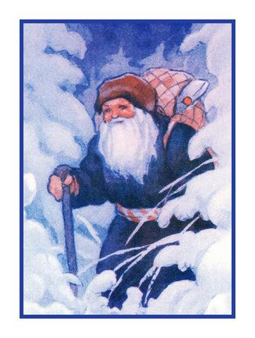 Father Christmas St. Nick in the Snow Holiday Christmas by Rudolf Koivu Counted Cross Stitch Pattern