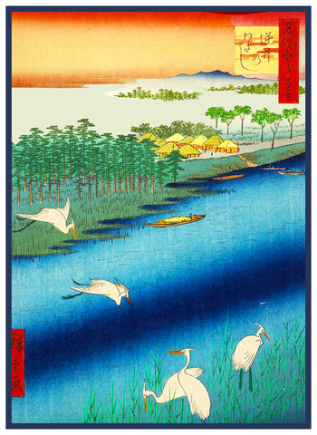 Sakai Ferry by Japanese artist Utagawa Hiroshige Counted Cross Stitch Pattern