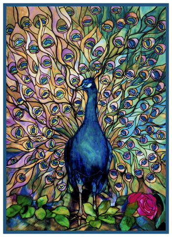 A Peacocks Glory inspired by Louis Comfort Tiffany Counted Cross Stitch Pattern DIGITAL DOWNLOAD