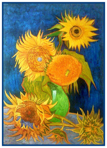 5 Sunflowers by Impressionist Artist Vincent Van Gogh Counted Cross Stitch Pattern