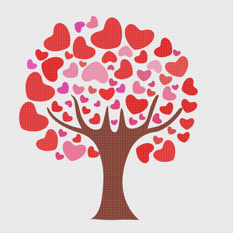 Valentine Day Love  Tree of Hearts Sew So Simple Counted Cross Stitch Pattern