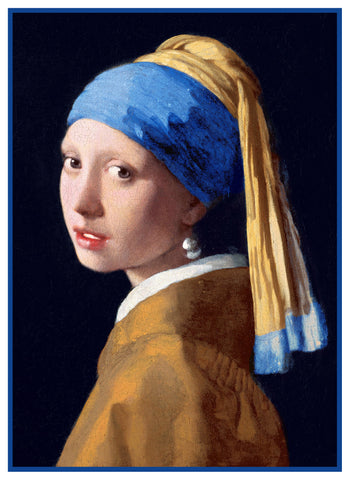 The Girl With the Pearl Earring by Johannes Vermeer Counted Cross Stitch Pattern