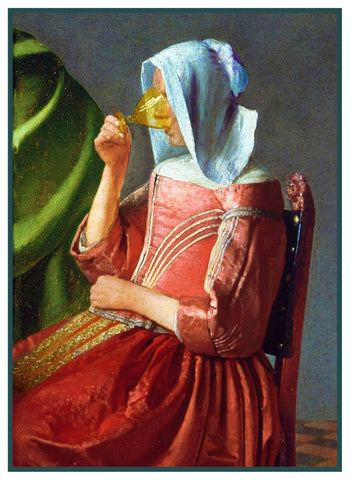 Girl With a Glass of Wine detail by Johannes Vermeer Counted Cross Stitch Pattern