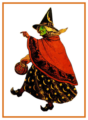 Folk Art Green Witch Halloween Counted Cross Stitch Pattern