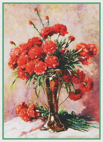 Red Flowers Silver Vase By  Abbott Fuller Graves Counted Cross Stitch Pattern