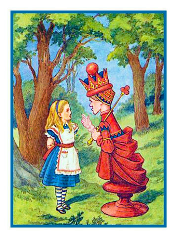 Tenniel's The Red Queen Alice in Wonderland Counted Cross Stitch Chart Pattern