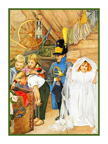 Children playing The Bridal Party by Gerda Tiren Holiday Christmas Counted Cross Stitch or Counted Needlepoint Pattern