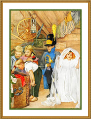 Children playing The Bridal Party by Gerda Tiren Holiday Christmas Counted Cross Stitch  Pattern - Orenco Originals LLC