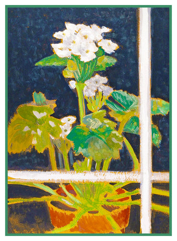 White Begonia Plant in the Window by American artist Charles Demuth Counted Cross Stitch or Counted Needlepoint Pattern