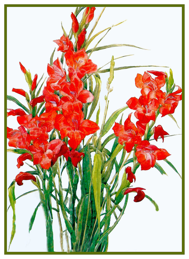 Red Gladiolus Flowers by American artist Charles Demuth Counted Cross Stitch Pattern