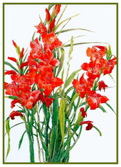 Red Gladiolus Flowers by American artist Charles Demuth Counted Cross Stitch or Counted Needlepoint Pattern