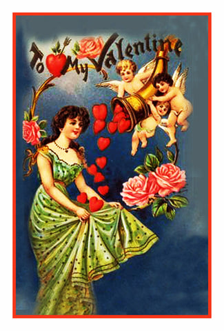 Victorian Valentine Cherubs Throwing Hearts  Counted Cross Stitch Pattern