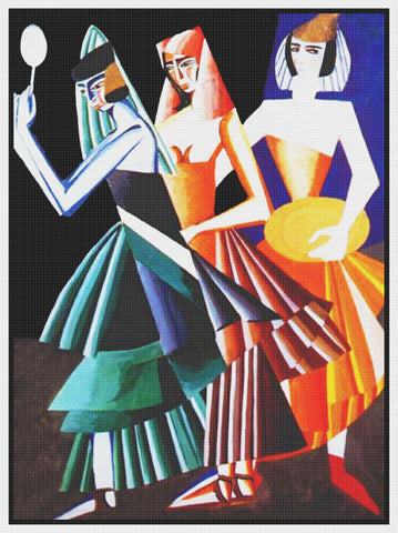 Costume Dance 7 Veils Modern Art Deco Aleksandra  Ekster Counted Cross Stitch Pattern