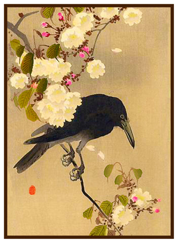 Japanese Artist Ohara Shoson's Crow on a Cherry Branch Counted Cross Stitch Pattern
