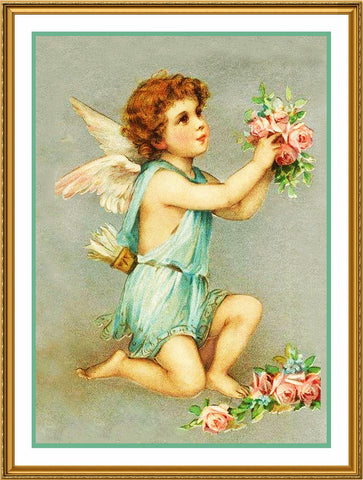 Victorian Valentine Cupid with Roses Counted Cross Stitch Pattern