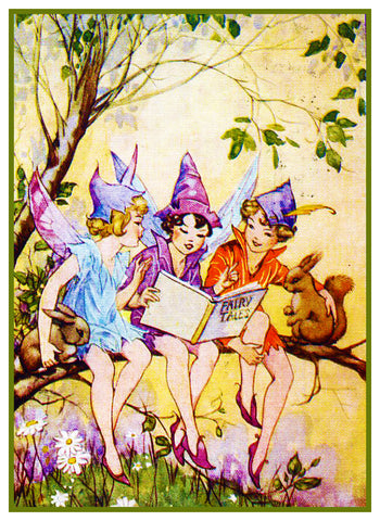 Fairies Reading a Fairy-Tale By  Dorothy M. Wheeler Counted Cross Stitch Pattern