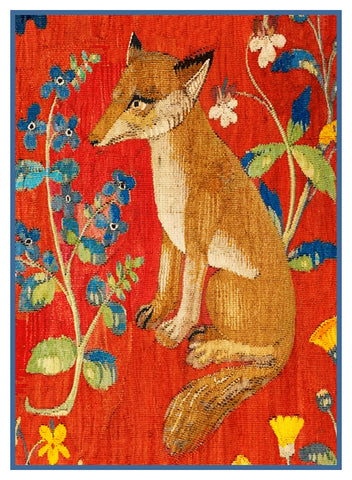 Sitting Fox Detail from the Lady and The Unicorn Tapestries Counted Cross Stitch or Counted Needlepoint Pattern