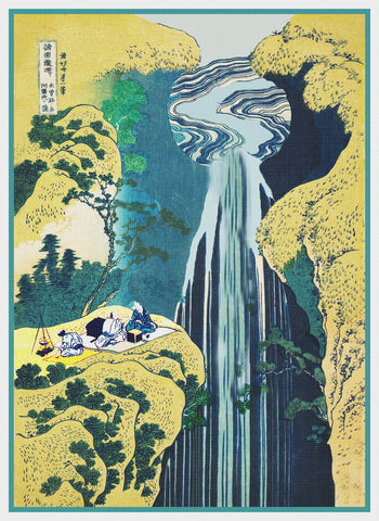 Asian Japanese Amida Waterfall Kisokaido by Hokusai Counted Cross Stitch Pattern