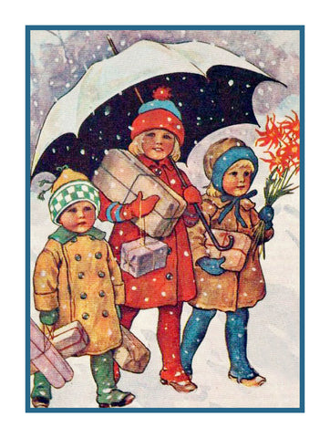 Children Presents Under Umbrella in Snow Jenny Nystrom  Holiday Christmas Counted Cross Stitch or Counted Needlepoint Pattern