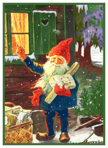 Elf Gnome with a Picnic Basket Jenny Nystrom Holiday Christmas Counted Cross Stitch Pattern