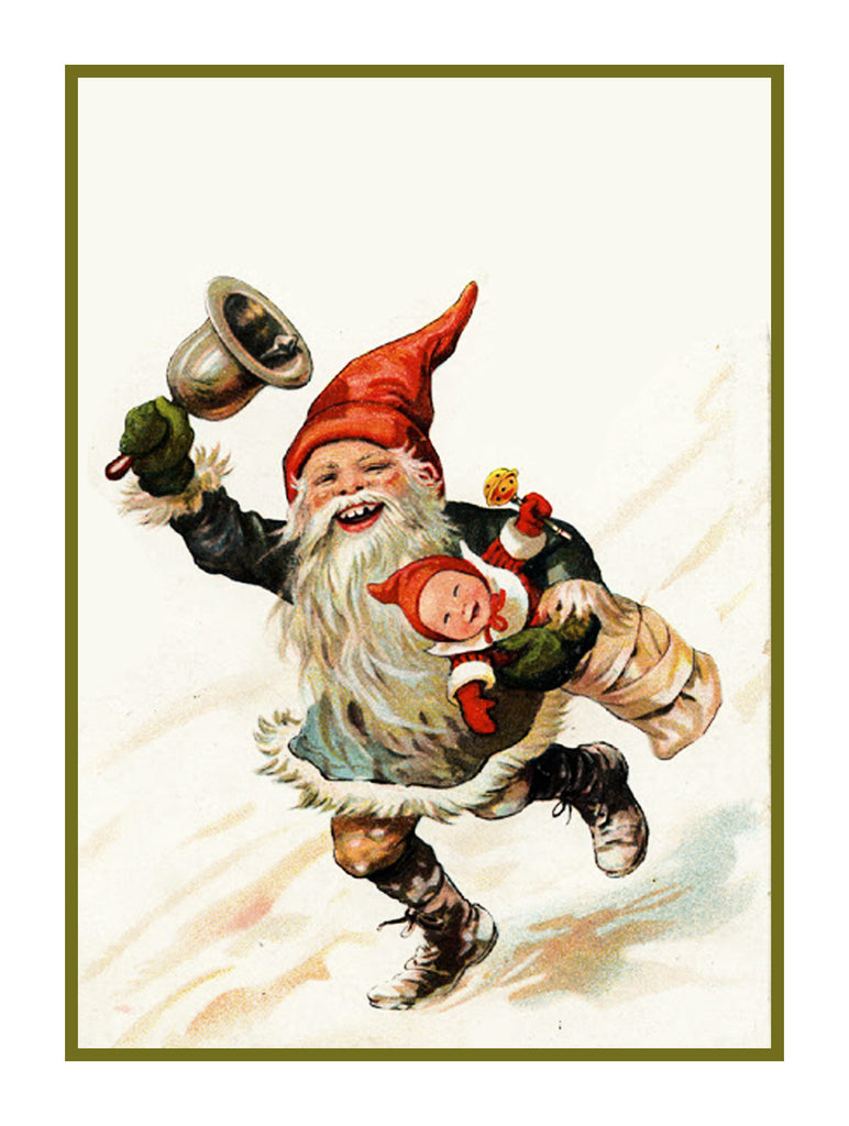 Elf Gnome Ringing a Bell Jenny Nystrom  Holiday Christmas Counted Cross Stitch or Counted Needlepoint Pattern