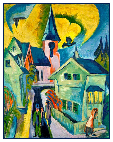 Church and Houses in Königstein Germany by Ernst Ludwig Kirchner Counted Cross Stitch or Counted Needlepoint Pattern