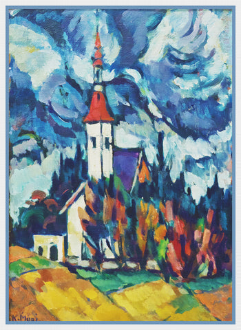 The Village Church  Landscape by Artist Konrad Mägi Counted Cross Stitch Pattern