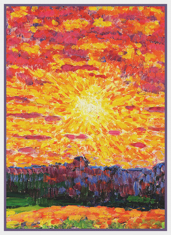 Estonian Landscape in Sun by Artist Konrad Mägi Counted Cross Stitch Pattern