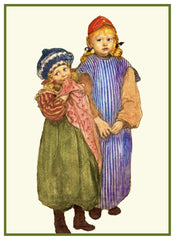 Carpenter Hellberg's Children by Swedish Artist Carl Larsson Counted Cross Stitch Pattern