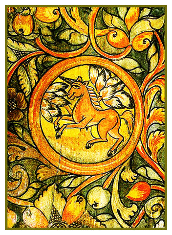 Ornamental Unicorn from a French Medieval Tapestry Counted Cross Stitch Pattern