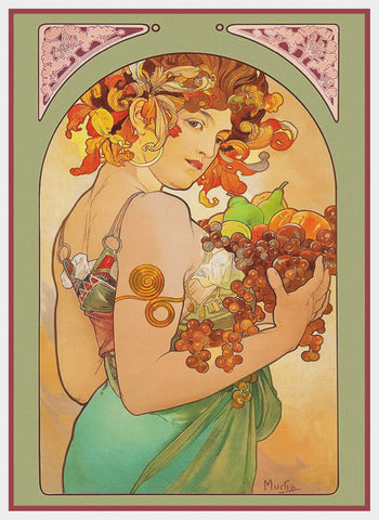 Fruit by Alphonse Mucha Counted Cross Stitch Pattern
