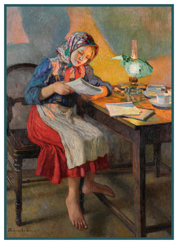 The School Girl By Nikolay Bogdanov-Belsky Counted Cross Stitch Pattern