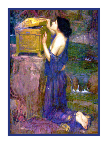 Pandora and Her Box inspired by John William Waterhouse Counted Cross Stitch or Counted Needlepoint Pattern