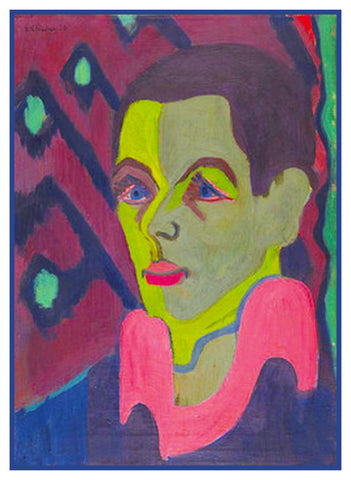 Colorful Portrait of Ernst Kirchner by Ernst Ludwig Kirchner Counted Cross Stitch or Counted Needlepoint Pattern
