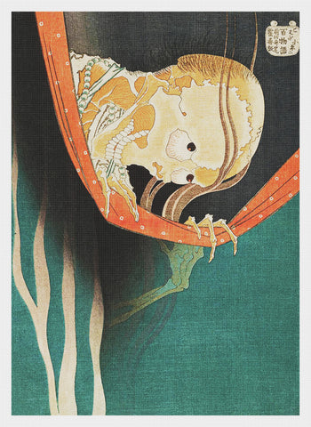 Asian Japanese The Ghost of Kohada by Hokusai Counted Cross Stitch Chart Pattern
