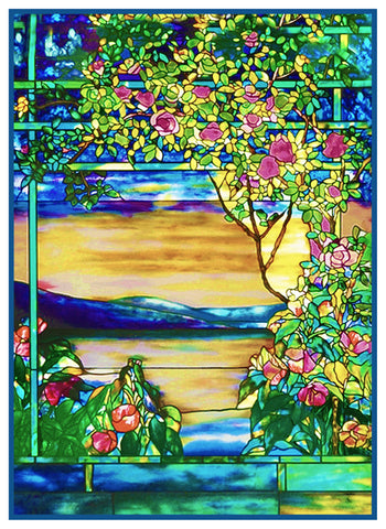 Landscape Of Roses Inspired By Louis Comfort Tiffany Counted Cross Sti Orenco Originals Llc