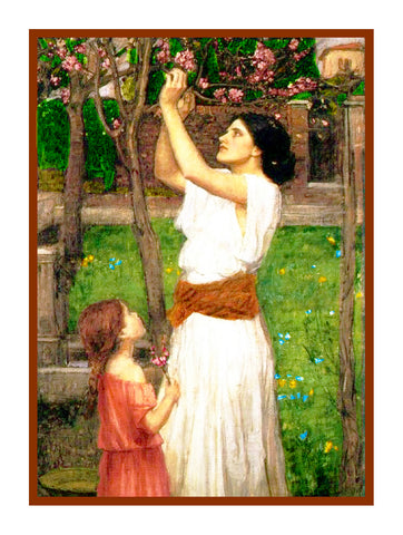 Gathering Almond Blossoms inspired by John William Waterhouse Counted Cross Stitch Pattern