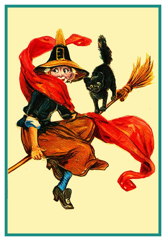 Witch Black Cat Broom Halloween Frances Brundage Counted Cross Stitch Pattern DIGITAL DOWNLOAD
