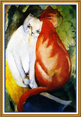A Red and A White Cat by Expressionist Artis Franz Marc Counted Cross Stitch or Counted Needlepoint Pattern - Orenco Originals LLC