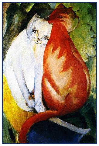 A Red and A White Cat by Expressionist Artis Franz Marc Counted Cross Stitch Pattern