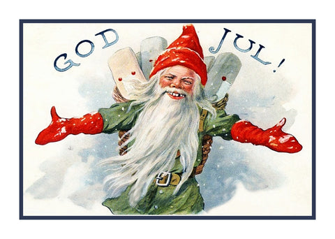 Elf Gnome God Jul! Jenny Nystrom  Holiday Christmas Counted Cross Stitch Pattern