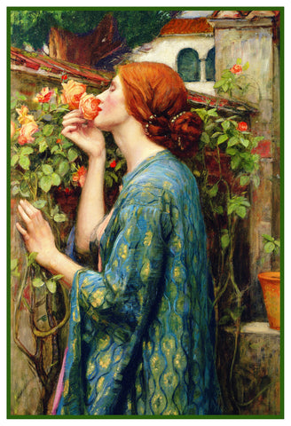 My Sweet Rose inspired by John William Waterhouse Counted Cross Stitch Pattern DIGITAL DOWNLOAD