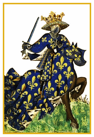 Heraldic Knight on Horseback #3 from a Medieval Tapestry Counted Cross Stitch Pattern
