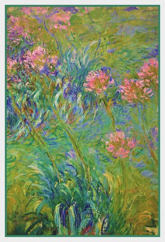 Agapanthus Flowers inspired by Claude Monet's Impressionist painting Counted Cross Stitch Pattern DIGITAL DOWNLOAD