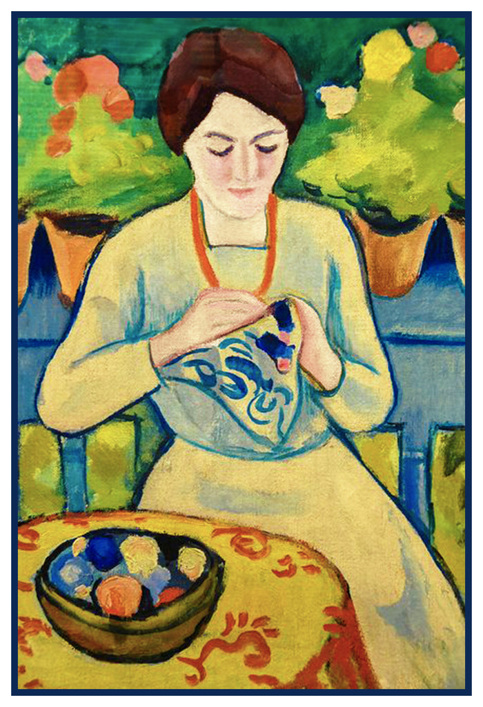 Woman Embroidering on the Porch by Expressionist Artist August Macke Counted Cross Stitch or Counted Needlepoint Pattern