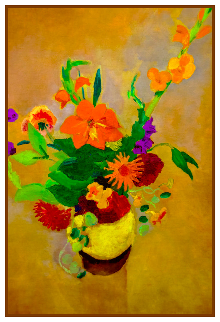 Still Life of Gladiolus Flowers by Expressionist Artist August Macke Counted Cross Stitch or Counted Needlepoint Pattern