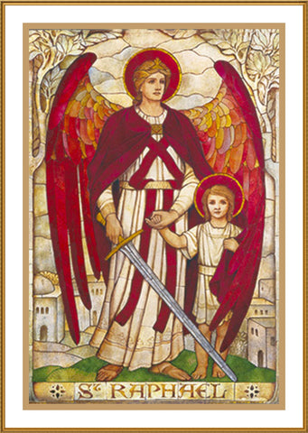 Archangel Raphael by Powell and Sons Counted Cross Stitch Pattern DIGITAL DOWNLOAD