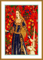 Detail from The Touch Panel from the Lady and The Unicorn Tapestries Counted Cross Stitch or Counted Needlepoint Pattern - Orenco Originals LLC