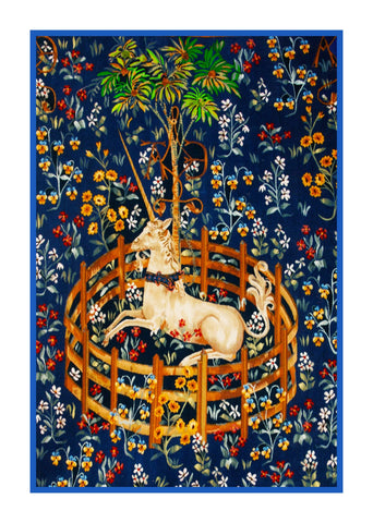 Unicorn in Captivity Navy Blue Background Inspired by The Hunt for the Unicorn Tapestries Counted Cross Stitch Pattern DIGITAL DOWNLOAD
