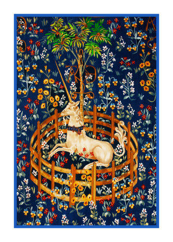 Unicorn in Captivity Navy Blue Background Inspired by The Hunt for the Unicorn Tapestries Counted Cross Stitch Pattern